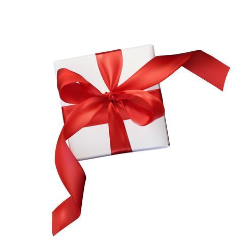 Julnät vektor realism presentförpackning med en röd båge