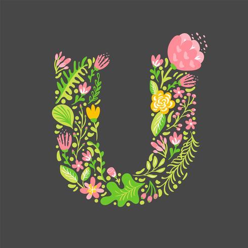 Floral summer Letter U