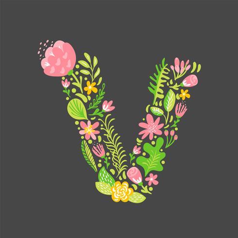 Été Floral Lettre V vecteur