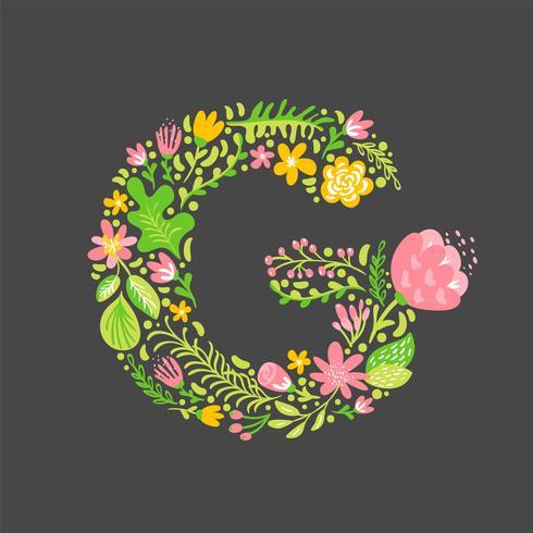 Été floral lettre gle vecteur