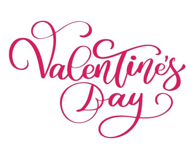 Cartel de tipografía de feliz día de San Valentín con texto de caligrafía manuscrita vector