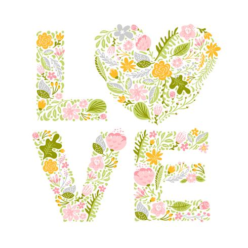 Floral summer word Love