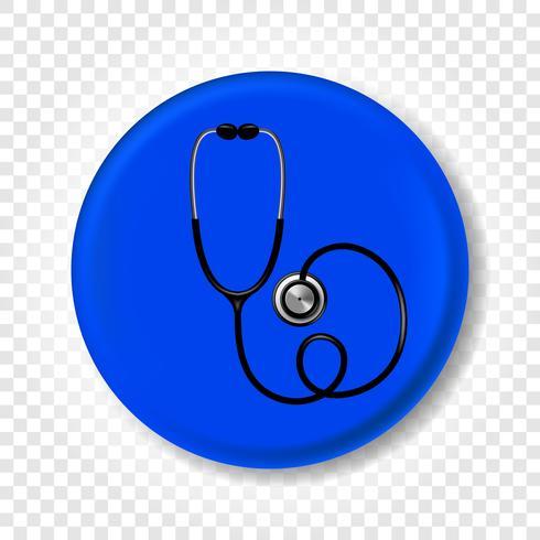 Uno stetoscopio medico realistico. Illustrazione vettoriale rotonda