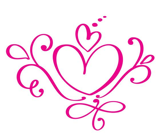 Vector Valentines day of flourish calligraphy vintage hearts