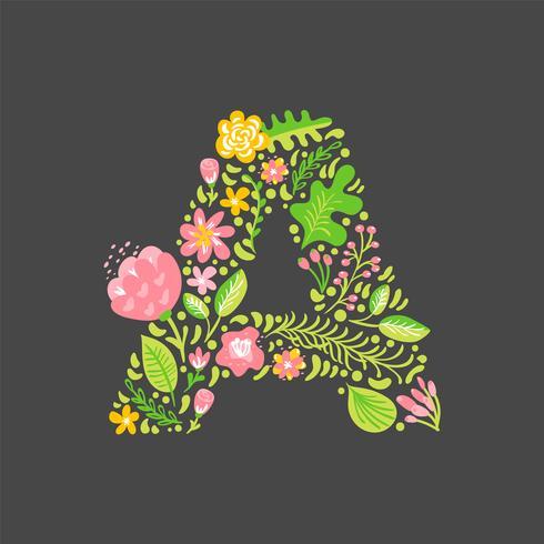 Floral summer Letter A vector