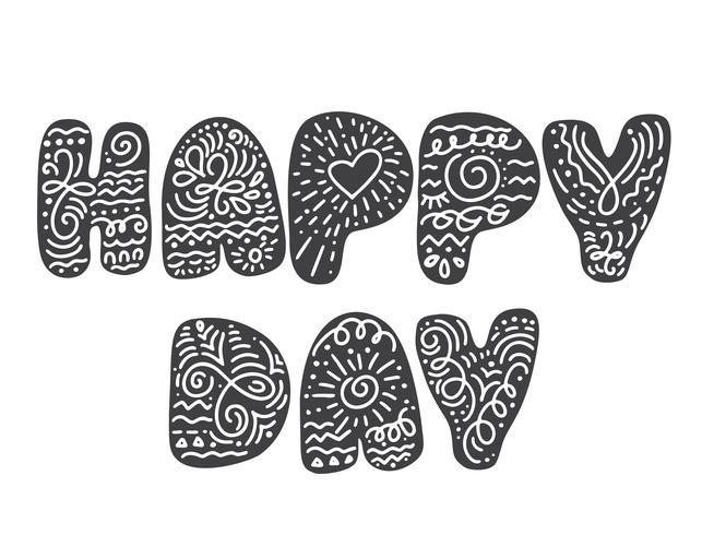 Tekst gelukkige dag in Scandinavische volksstijl