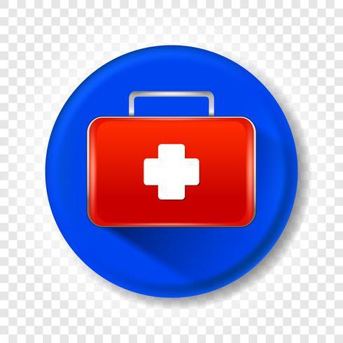 Un realista botiquín médico de primeros auxilios. Ilustración vectorial redondo vector