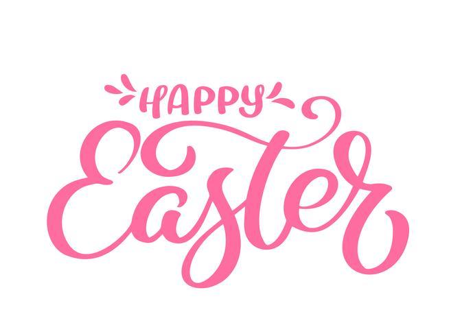Disegnato a mano felice calligrafia di Pasqua e pennello lettering penna