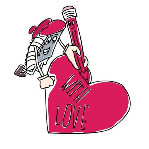 Charakter-Notizbuch schreibt auf das Herz zum Valentinstag