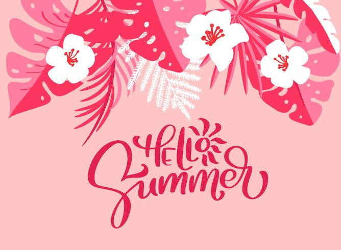 Testo Ciao estate in sfondo floreale foglie di palma vettore