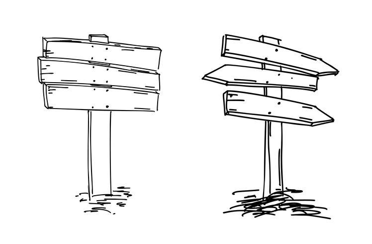 Double arrows. Hand drawn sketch