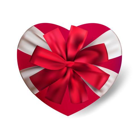 Vector die realistische rote Herzformgeschenkbox, die auf weißem Hintergrund mit Bogen lokalisiert wird