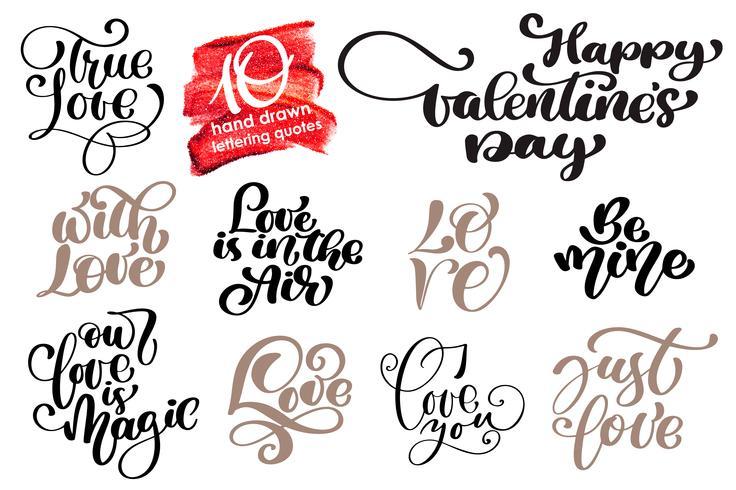 Conjunto de letras românticas de amor dos namorados