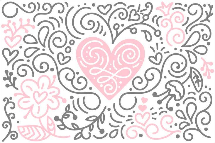 Vector de corazón folklórico escandinavo con flores y florecer
