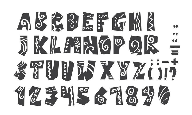 Alfabeto completo de grunge e numerais ilustração vetorial