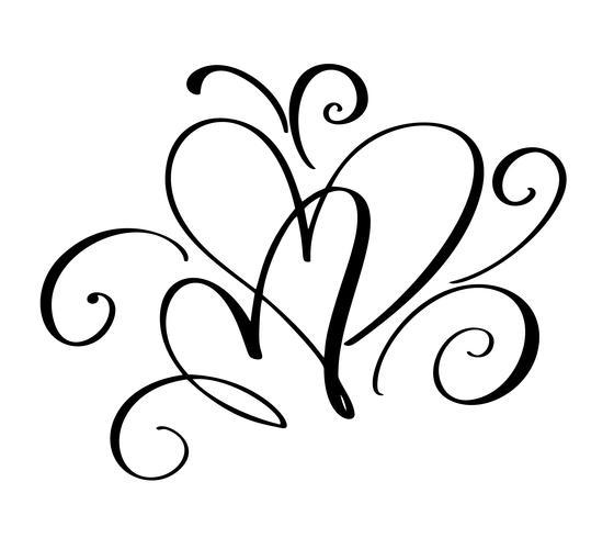 Día de San Valentín del vector de los corazones del vintage de la caligrafía del flourish