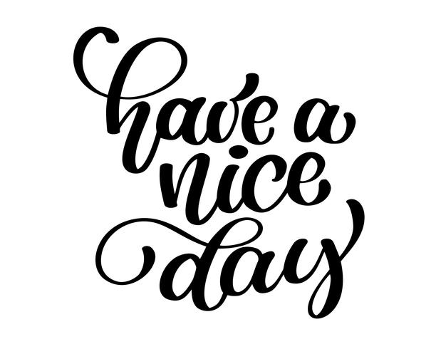 Have a nice day. Hand drawn lettering isolated on white background vector
