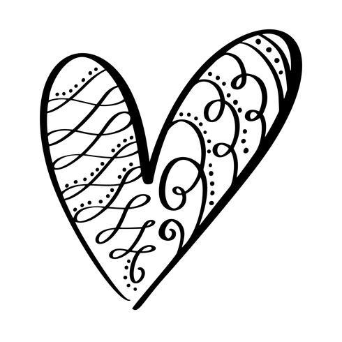 Vector il giorno di San Valentino dei cuori d'annata di calligrafia flourish