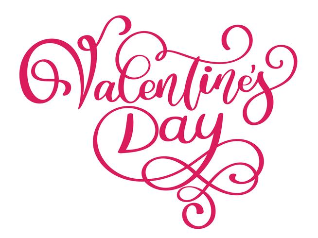 Happy Valentines Day typography poster with handwritten calligraphy text