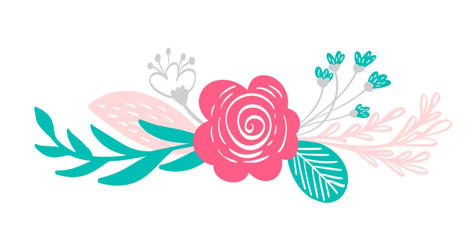 bouquet flowers and floral elements vector