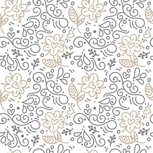 Modello senza cuciture con foglie dipinte a mano in stile scandinavo