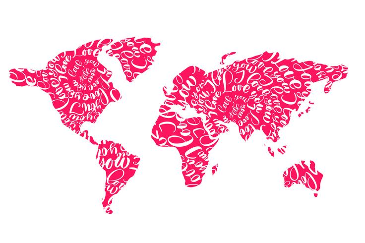 Pink world map with hearts i love you tags for Valentines Day