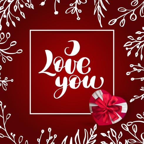 Tarjeta de San Valentín te amo letras vectoriales vector