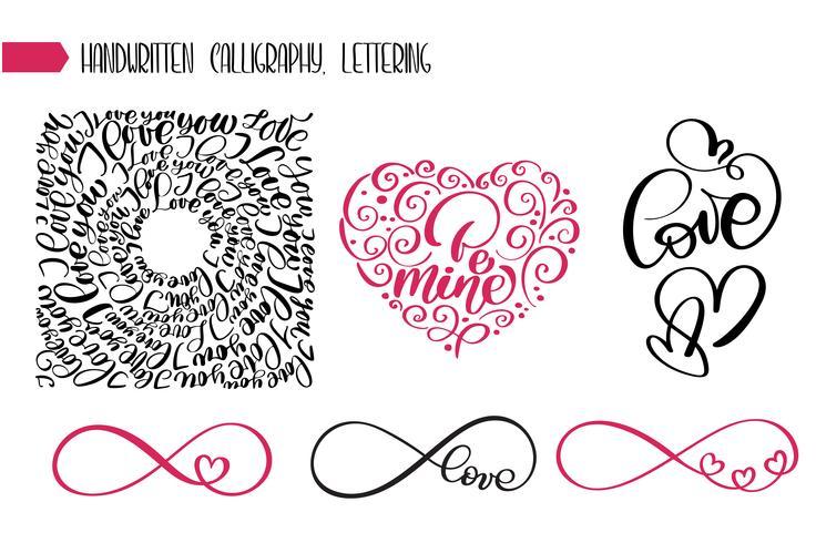 Lycklig Alla hjärtans dag text kärlek till hälsningskort vektor