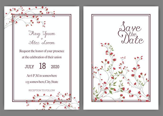 Le carte di nozze eleganti consistono di vari generi di fiori. vettore