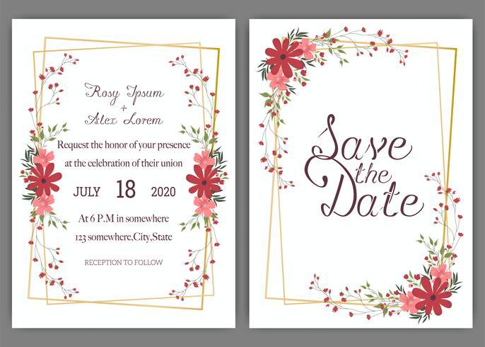 Cartões de casamento elegantes consistem em vários tipos de flores. vetor