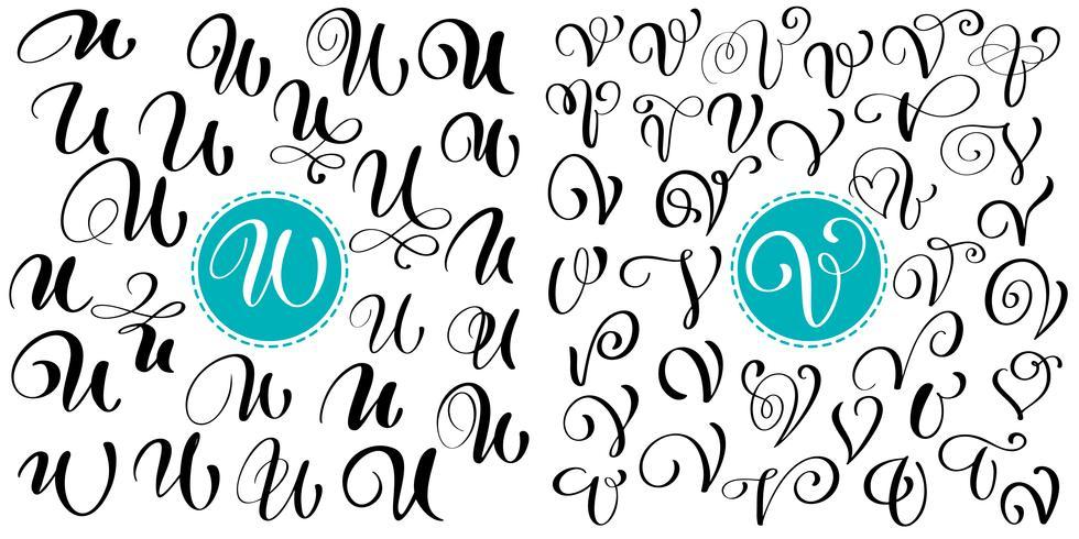 Set di disegnato a mano vettore calligrafia lettera U, V