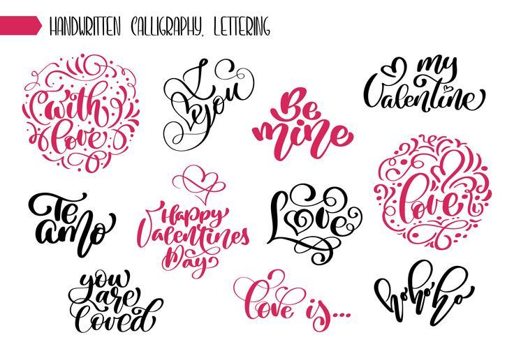 Satz Phrase Valentinstag Kalligraphie vektor