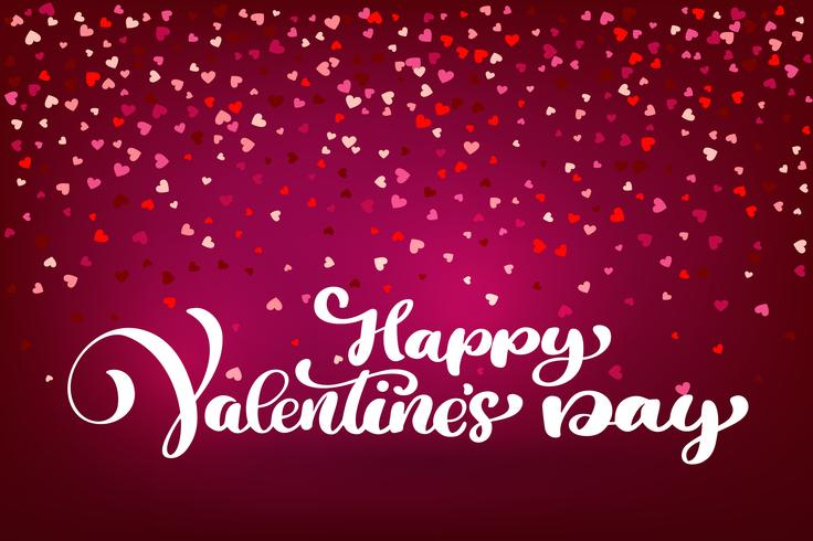 Calligraphic Happy Valentines Day with Heart