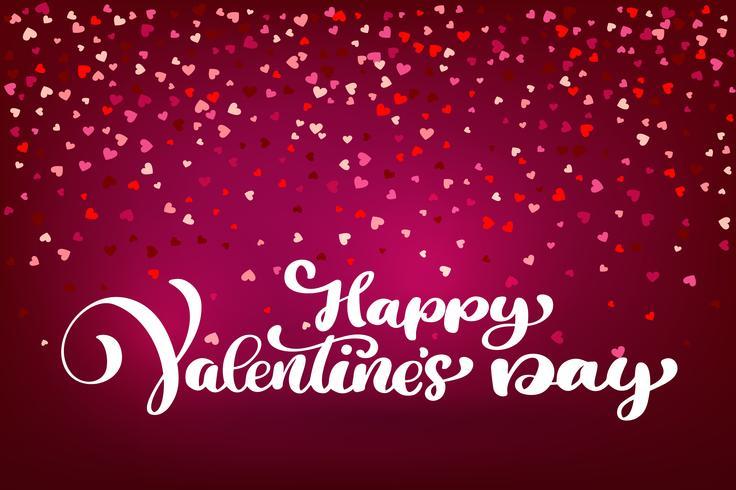 Caligráfico feliz día de San Valentín con corazón vector
