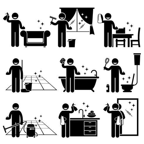 Man tvättar och städar hus soffa, fönster, trämöbler, golv, badkar, toalett skål, kök och spegel hemma.