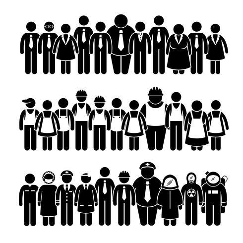 Gruppo di persone lavoratore da diverse figure stilizzate pittogramma figura stilizzata.
