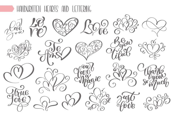 Big set hand written lettering about love  vector