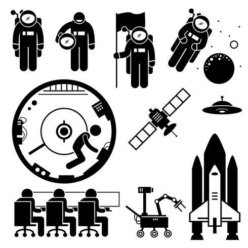 Astronaut Space Exploration Stick Figure Pictogram Icons.