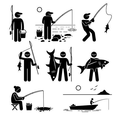 Uomo che pesca pesce grande e piccolo al fiume, lago, ghiaccio e mare con piccola barca per la ricreazione.