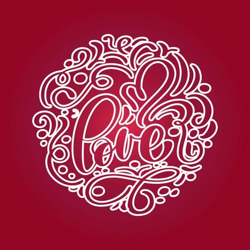 Con letras de amor en forma de corazón. Dibujado a mano frase romántica vector