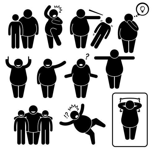 Homem gordo ação coloca posturas Stick Figure pictograma ícones.