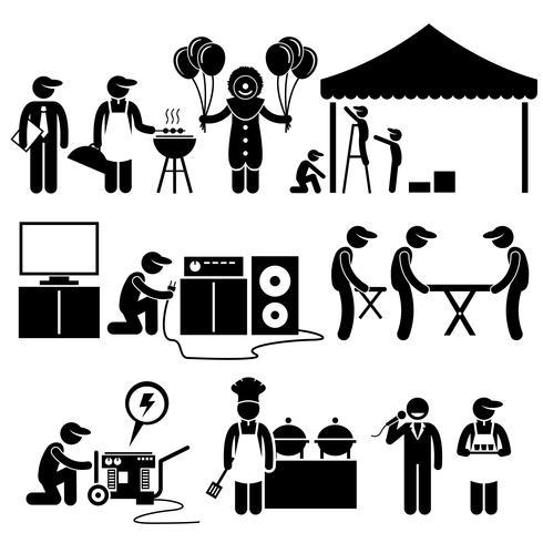 Feier Party Festival Event Services Strichmännchen Piktogramme Symbole. Menschliches Piktogramm, das das Ereigniseinrichtungsdienstleistungsgeschäft darstellt.