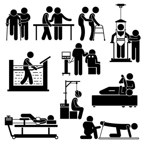 Physio Physiotherapy and Rehabilitation Treatment Stick Figure Pictogram Icons.