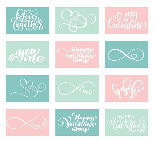 Lettering Set Love Vector Modelli di carte di San Valentino