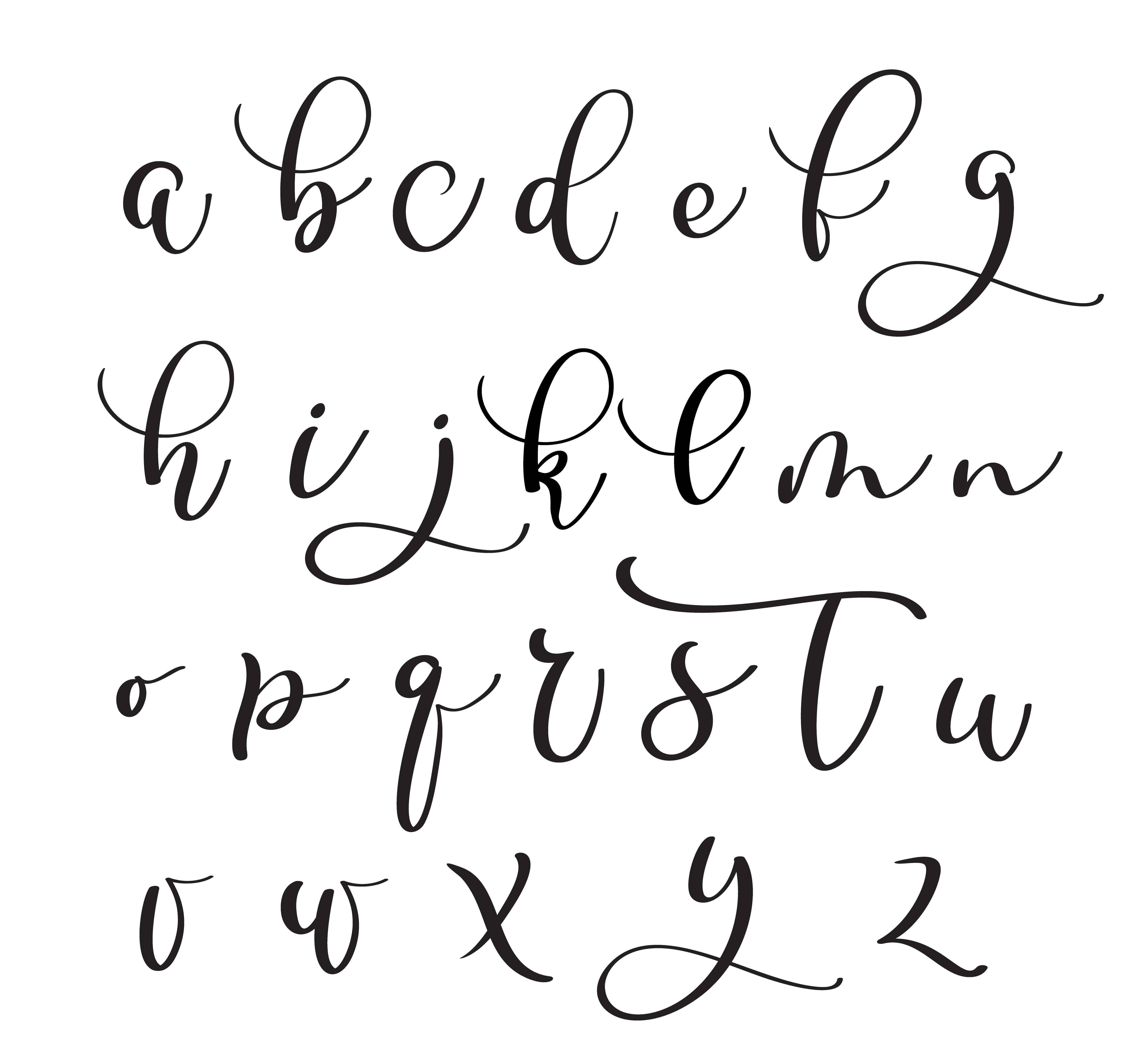 Brushpen alphabet. Modern calligraphy, handwritten letters ...