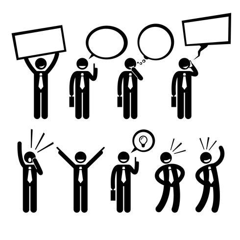 Businessman Business Man Talking Thinking Shouting Holding Placard Stick Figure Pictogram Icon.