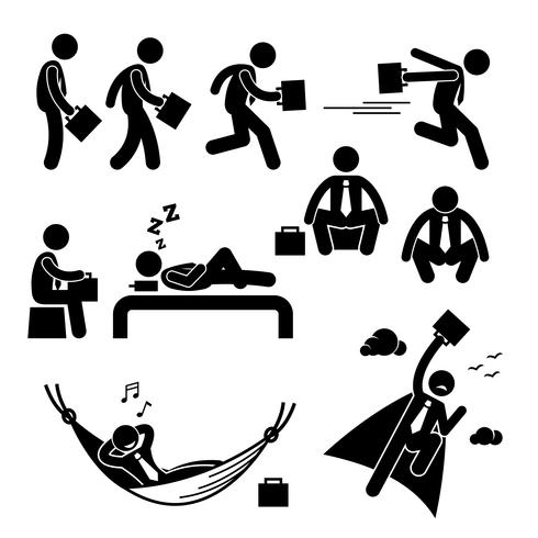 Businessman Business Man Walking Running Sleeping Flying Stick Figure Pictogram Icon.