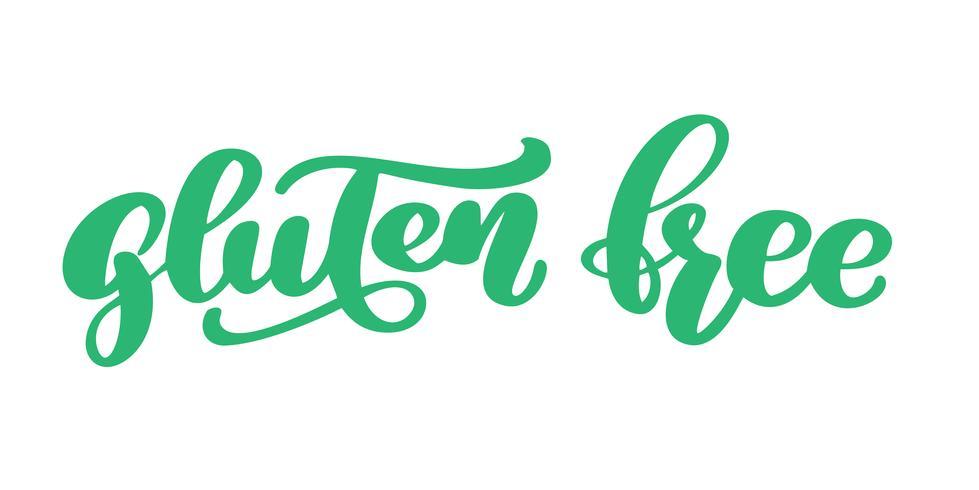 Glutenfreier Text Hand gezeichnet, Phrase lokalisiert auf weißem Hintergrund beschriftend. Vektorillustrations-Kalligraphiezitat