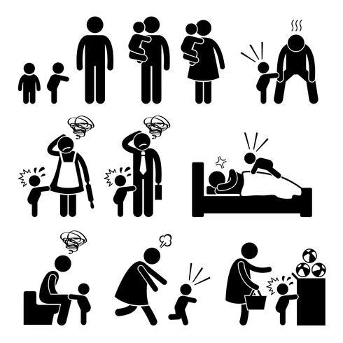 Schlechter Temper-Kleinkind-Baby-Wutanfall mit Mutter und Vater Strichmännchen-Piktogramm-Ikonen. vektor