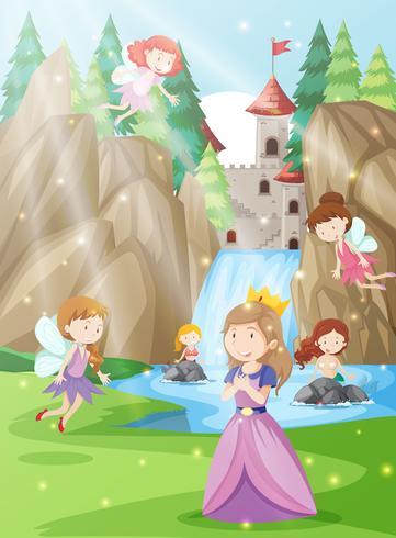 Uma princesa na terra da fantasia vetor